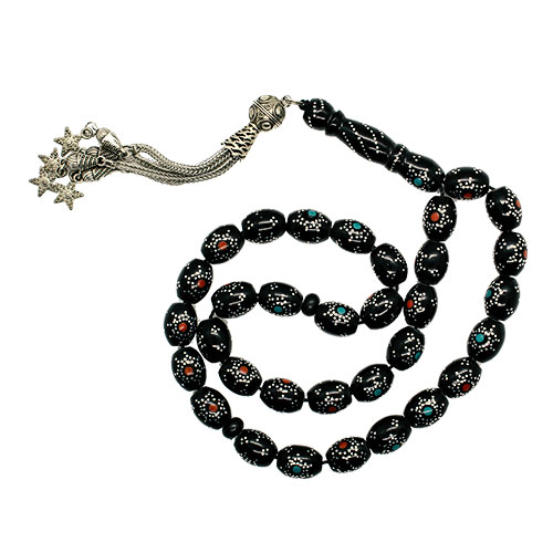 Black Subha with Brown and Baby Blue Circles